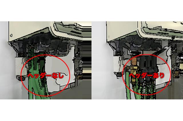 給湯器ヘッダ内蔵型と外付け型